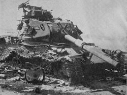 An Israeli M60 Patton destroyed in the Sinai