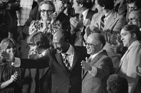 Egyptian President Anwar Sadat and Israeli Prime Minister Menachem Begin acknowledge applause during a Joint Session of Congress in which President Jimmy Carter announced the results of the Camp David Accords.