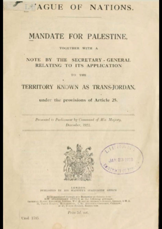 Anniversary of the League of Nations Mandate for Palestine as a Jewish State (1922)