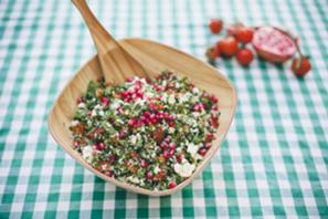 Gluten-Free Tabbouleh Salad with Tomatoes, Parsley, Cauliflower and Carrots