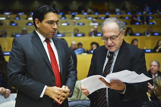 Israels Ambassador to the UN Danny Danon and Harvard Professor Alan Dershowitz at Legan Scholars Against BDS Conference 2016