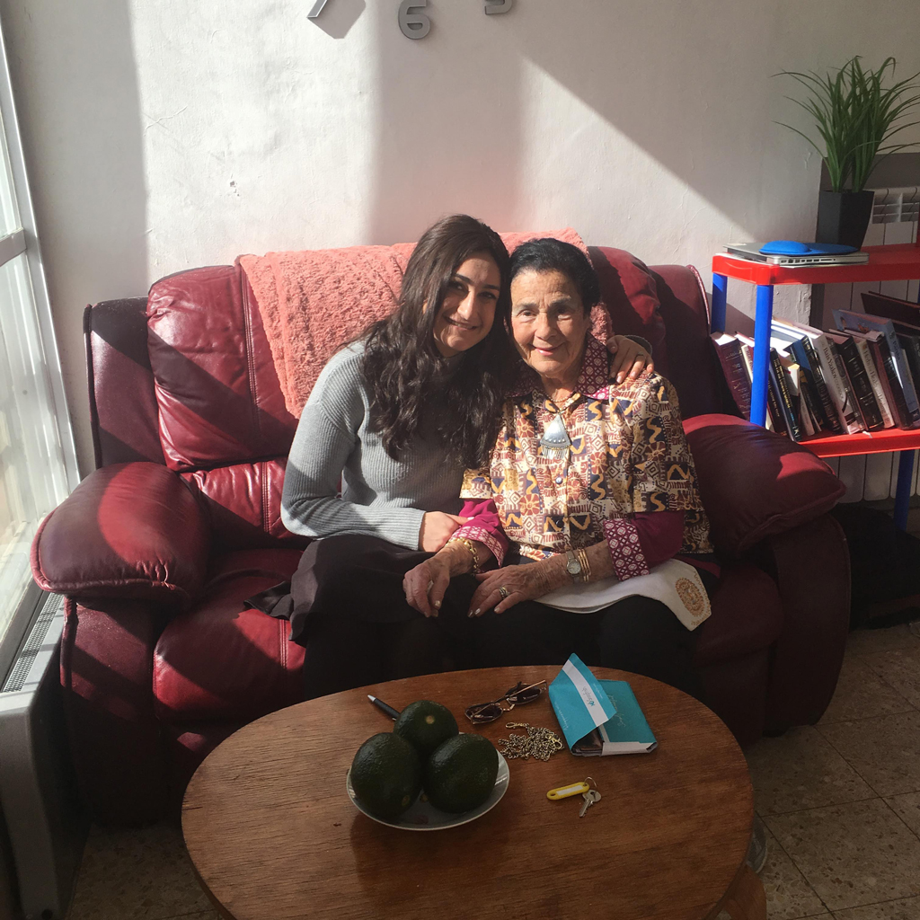 Omy visiting me at my Jerusalem apartment