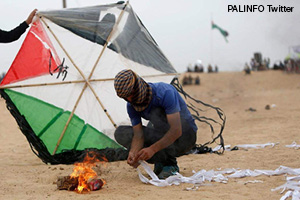 Kite firebombs from Gaza