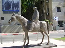 A statue of Meir Dizengoff (1861 - 1936), first mayor of Tel Aviv, located on Rothschild Boulevard.