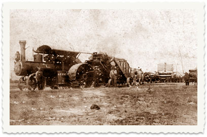 1909, the Cucuy family in Canada. In the photo: The Cucuy family's steam tractor before they left the farm in Olivier to Saskatoon