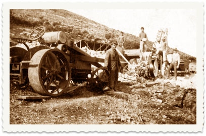 1924, During the family's first years in the Land of Israel, the sons are employed in different factories in the country. In the photo: Shaul uses a roller to pave a road