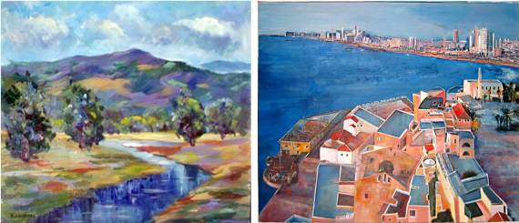 Mountains and Sea of Galilee. Painting on right is Jaffa, Tel Aviv by Rina Vizer