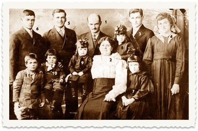 1920, the Cucuy family in full constitution in Winnipeg, Canada: 1 and 2 – parents Asher and Etil, 3 – Shaul, 4 – Leah, 5 – Meir, 6 – Aharon, 7 – Tova, 8 – Tzipora, 9 – Miriam, 10 – Tuvia, 11 – Noah