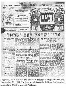 Balfour Declaration, Moscow, Hebrew newspaper