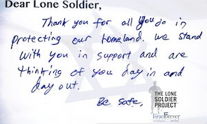 Letters of Friendship for IDF Lone Soldiers