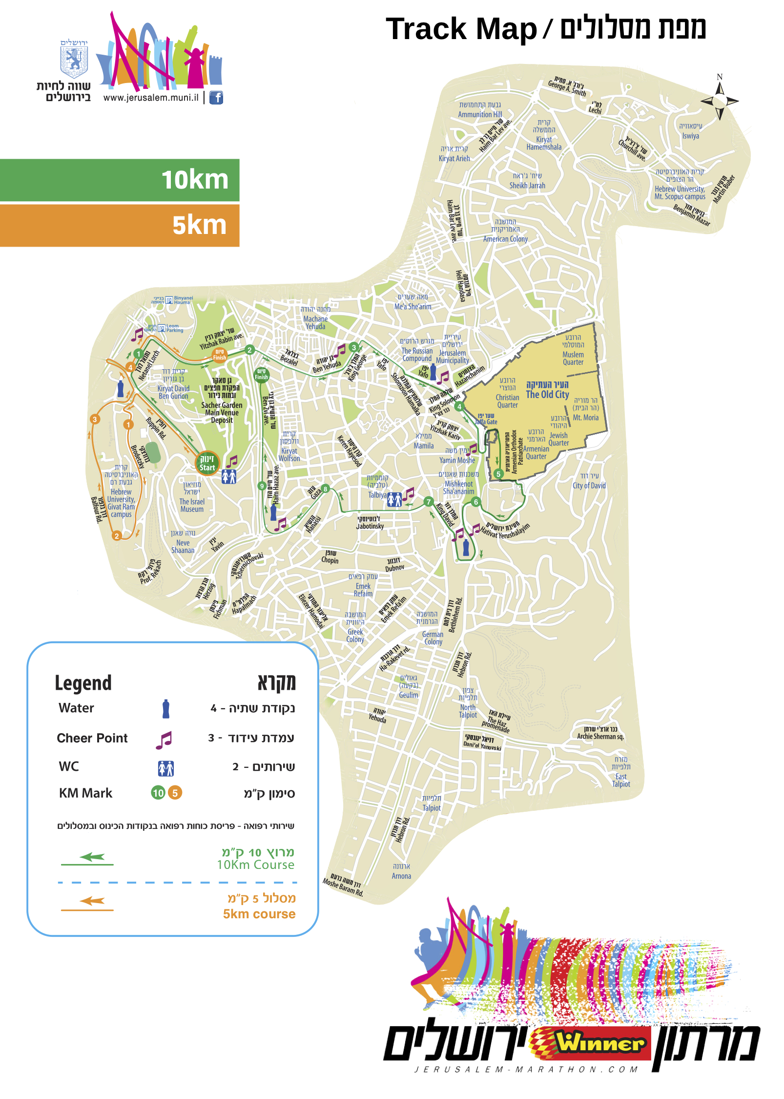 Jerusalem marathon 2019 map