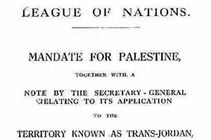League Of Nations Mandate For Palestine As A Jewish State